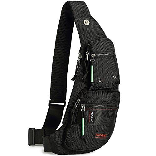 Nicgid Sling Bag Chest Shoulder Backpack Fanny Pack Crossbody Bags for Men (Black(Fits iPad mini))