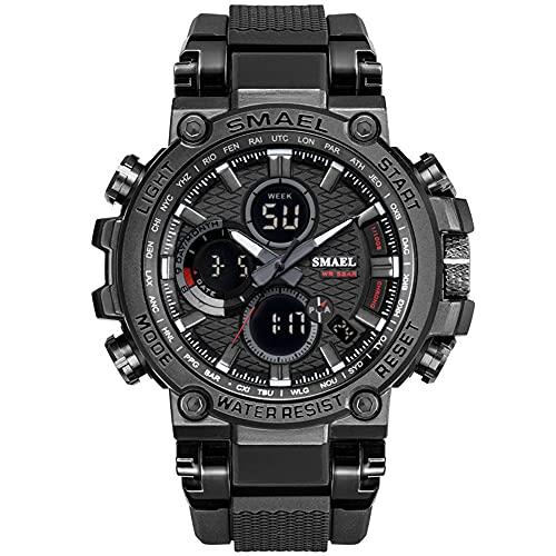 Reloj de pulsera analógico digital para hombre, deportivo, resistente al agua, LED, digital, con cronómetro, para hombres, Negro ,