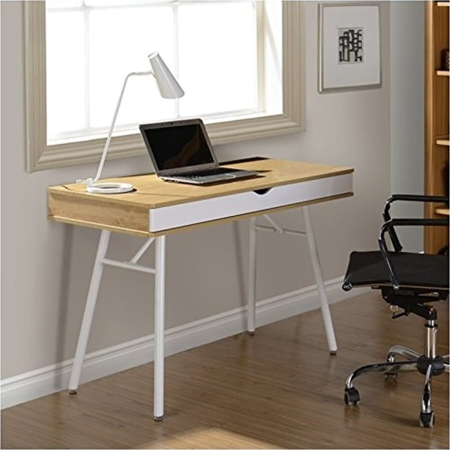 Pemberly Row Workstation with Cord Management and Storage in Pine