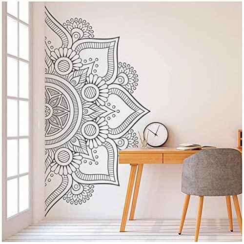 KBIASD Pegatinas de pared de media Mandala calcomanía de vinilo para cabecera de dormitorio decoración moderna para el hogar murales autoadhesivos extraíbles 83x42cm