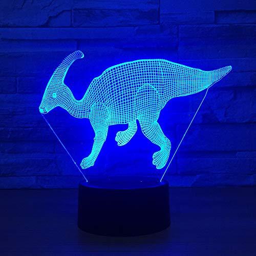 BFMBCHDJ Dinosaurio Modelo Ilusión Lámpara 3d 7 Cambio de color Toque remoto USB Led Animal 3D Luz nocturna Niños Lampara Bebé Iluminación para dormir
