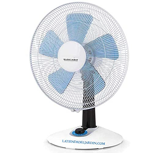Suinga - VENTILADOR SILENCIOSO de SOBREMESA, oscilante, 4 velocidades, función turbo, iluminación LED, 60 W, blanco y azul