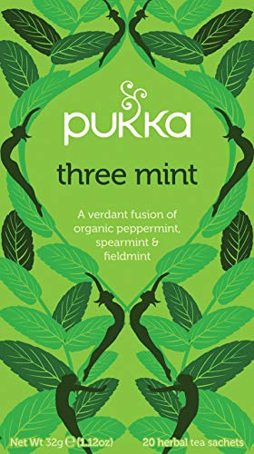 Pukka Three Mint, Organic Herbal Tea with Peppermint, Spearmint and Fieldmint (4 Pack, Total 80 Tea bags)
