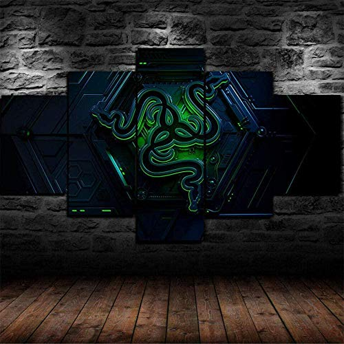 YUANJUN 3D Leinwanddrucke,Modulare Wandkunst Wandaufkleber,5 Teiliges Wandbild,Mit Rahmen,Größe 150 X 80 cm Leinwandbild, Wandbilder XXL Razer Game Pc Gamer Poster