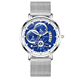 Yivise Moda para Hombre Reloj Simple Cinturón de Malla Caja de Acero Inoxidable Dial Analógico Reloj de Pulsera de Cuarzo(I)