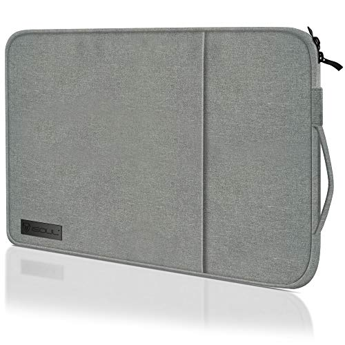 iSOUL 15-15.6 inch Shock Resistant Laptop Sleeve Case Briefcase Bag Waterproof [Accessory Pocket] Compatible for 15' MacBook Pro/Surface Book /XPS 15/Chromebook/HP/Lenovo - Grey