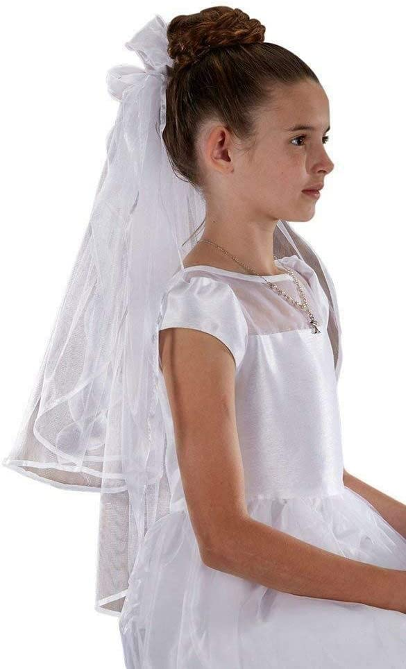 RIF Store First Communion Veil with Sheer Bows and Flowers for Girls White, 26 Inch #A-1-1862