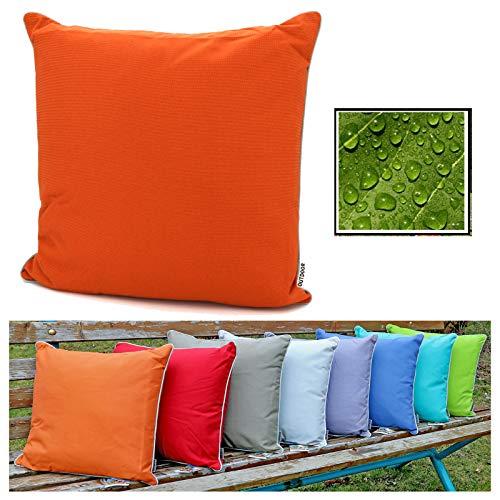 fashion and joy Outdoor Lounge Dekokissen Lotus Effekt 45x45 Orange wetterfest schmutz- und wasserabweisend Struktur Garten Kissen Loungekissen Typ551