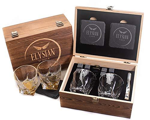 Whiskyglas Geschenkset, Rocks Gläser Set von 2 wiederverwendbaren Kühlsteinen Twisted Tumbler Glas Set Männer Geschenk Damen Geschenk Papa Trauzeugen Geschenk Whisky Steine Gin Geschenk
