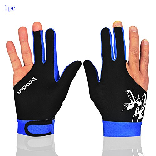 MIFULGOO Man Woman Elastic 3 Fingers Gloves for Billiard Shooters Carom Pool Snooker Cue Sport - Wear on The Right or Left Hand (Black Blue, L)
