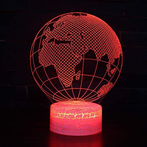 3D Forme De La Carte De La Terre Nuit Lampe 16 Couleurs Changeantes Puissance Usb Contact Switch Lampe Décorative Illusion Optique Led Lampe De Table Anniversaire Noël Cadeau Enfants Jouets