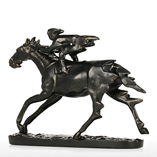 TGACD Skulptur Statue Metall Skulptur Ritter auf Kavallerie Pferd Figur Moderne Skulptur Dekor Sammler Statuen Geschenk Bronze, Neger