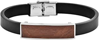 Geoffrey Beene Men's Leather and Stainless Steel Bracelet with Wood ID Plate