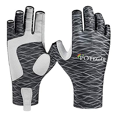 POTEGAR Sun Protection Fingerless Fishing Gloves UPF 50+ Men's Women's UV Gloves for Kayaking Paddling Hiking Cycling Driving Shooting Training (Black, S/M)