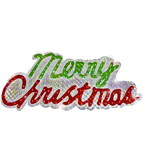 Northlight 46' Sparkling Holographic Merry Christmas Sign Outdoor Decoration