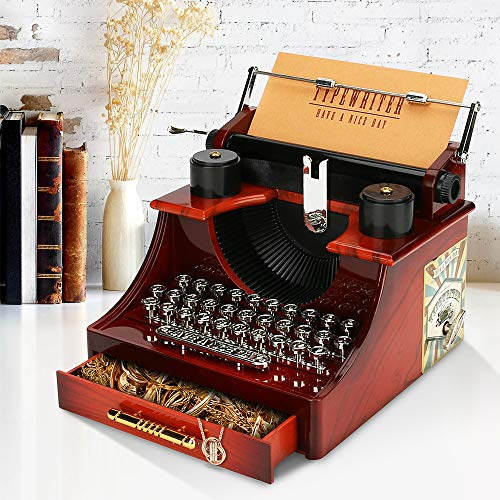 Maxjaa Caja de música vintage con interruptor de cajón y tarjeta, modelo de mini máquina de escribir, adorno de escritorio para almacenamiento de joyas en Navidad, cumpleaños, festivales
