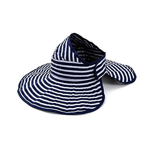 Cutewing Sun Visor Hats for Women with UV Protection Large Wide Brim Summer Beach Caps with String Roll Up for Travel Packable.