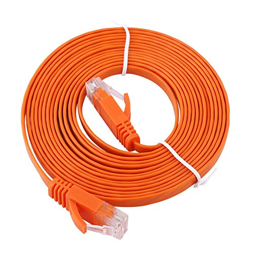 Cat 6 Cables-RJ45 CAT6 Red Ethernet Cable LAN plano UTP Patch Router Cables 1000M Naranja(3m)