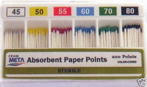 Dental Endo Endodontic Absorbent Paper Points META Size 45-80 Color Coded