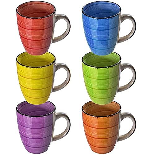 esto24 Design 6er Set Kaffeebecher Keramik 350ml in tollen Farben für Ihr liebstes Heißgetränk für Kaffee, Cappuccino und Latte Macchiato (Bunt)