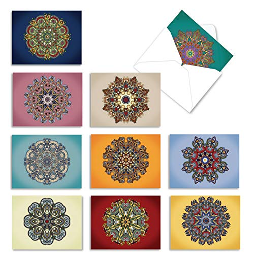 The Best Card Company - 10 Zen Blank Greeting Cards Assorted (4 x 5.12 Inch) - Mandala Mania M3964