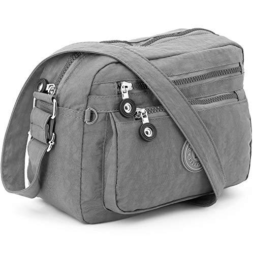ekavale - Kleine Schultertasche aus Wasserabweisendes Nylon – Handtasche für Damen & Mädchen - Crossbody Bag - Leichte Umhängetasche (Grau)