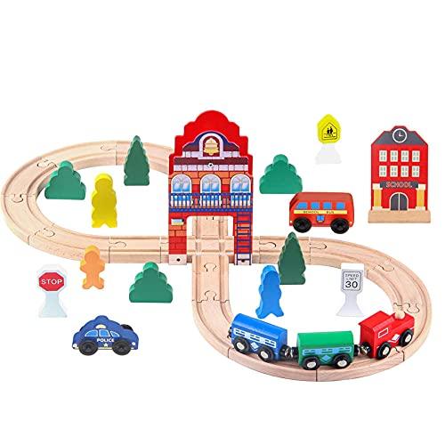 Figura De Madera para Niños 8 Torre del Reloj Thomas Pista De Tren Deslizante Juego De Juguete De Pista De Madera Educativo para Niños