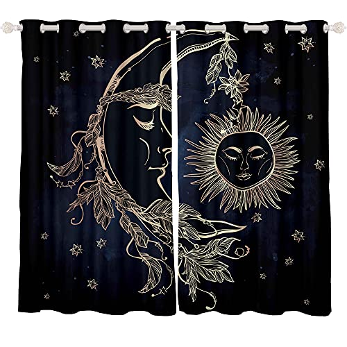 Feelyou Sun and Moon Curtains Hippie Bohemian Curtains for Bedroom Living Room Boho Indian Tribal Thermal Insulated Window Drapes Trippy Astrology Curtains 42W x 63L Inches 2 Panels