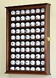 70 Golf Ball Display Case Cabinet Holder Wall Rack w/ UV Protection -Walnut