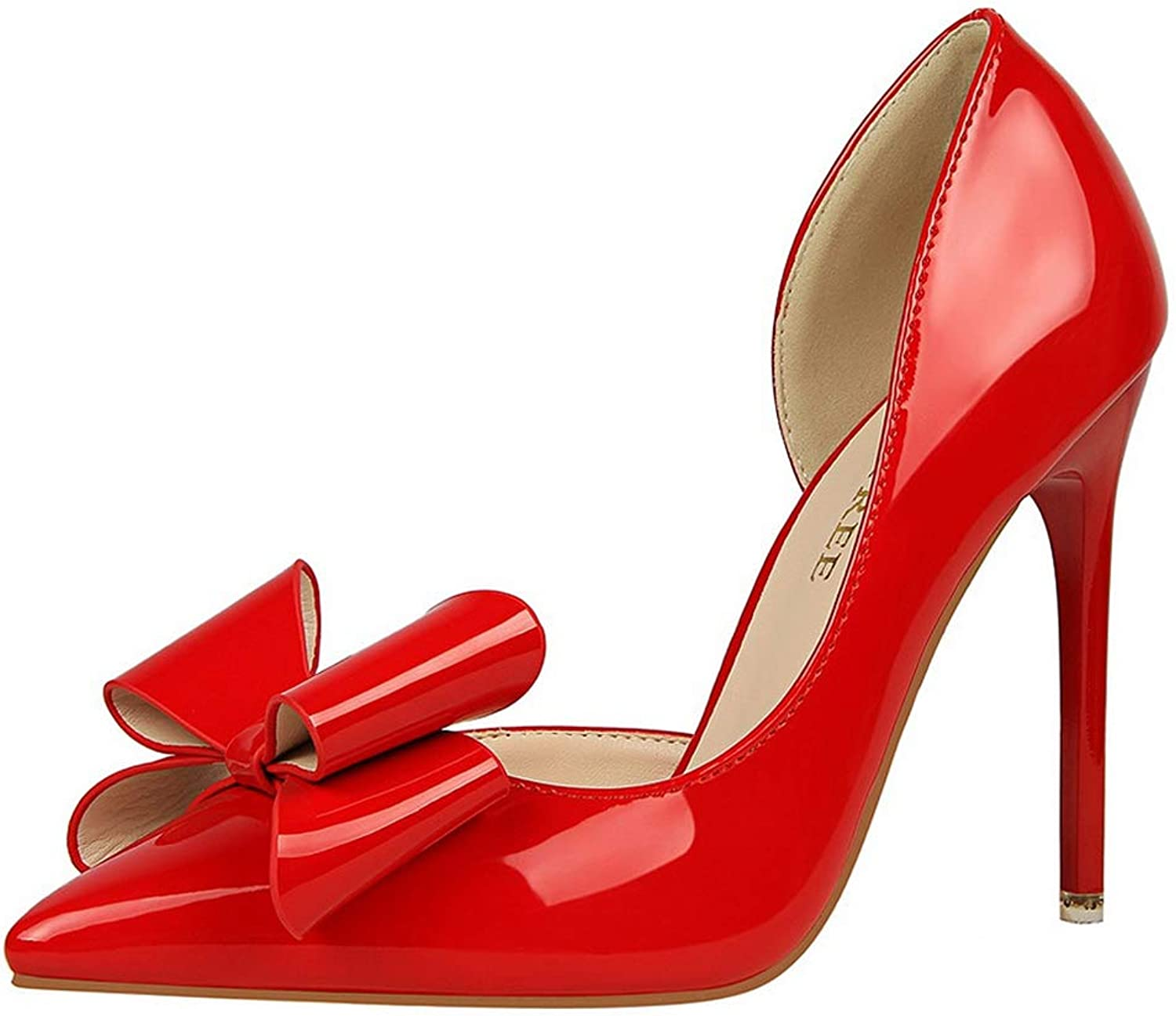 Sam Carle Women Pumps, Patent Leather Bowkont Side Hollow High Thin Heel Pointed Toe shoes