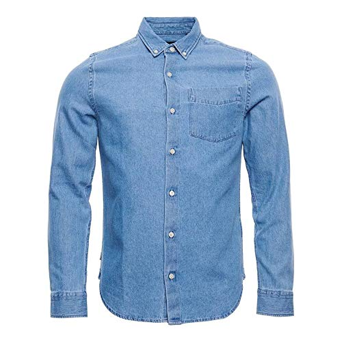 Superdry Classic Denim B.D Shirt Camisa con Botones, Worn Wash, M para Hombre