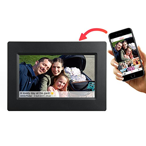 Feelcare 7 Inch Smart WiFi Digital Picture Frame with Touch Screen, Send Photos or Small Videos from Anywhere, IPS LCD Panel, Built in 8GB Memory, Wall-Mountable, Portrait&Landscape(Black)