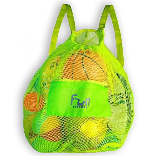 MESH BAG - Drawstring Backpack Perfect for Beach, Swim, Pool Toys like Volleyball, Soccer - Keep Sand Water Away - Most Durable Large Size Tote Hold Up to 25lbs - Secure Storage with Zipper Pocket