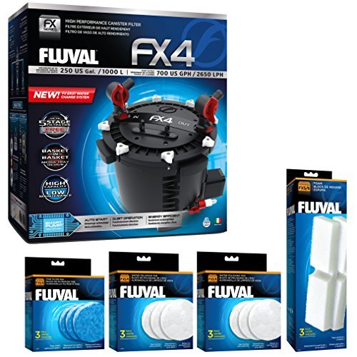 Fluval FX4 Filter w/Water Pad, Filter Pad & Filter Foam (6 Month Supply)