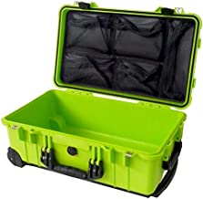 Lime Green & Black Pelican 1510 with 1519 Lid organizer. No foam.