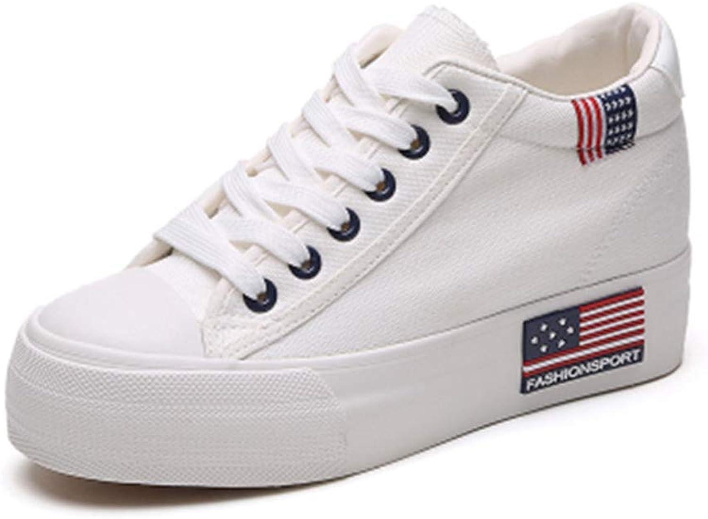 T-JULY Women Classic White Superstar Canvas shoes Spring Autumn Espadrilles Wedges Lace-up Casual Platform shoes