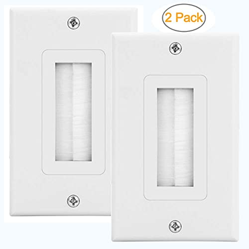 zexmte 2-pack single brush wall plate white wall mount panel cable pass  through insert