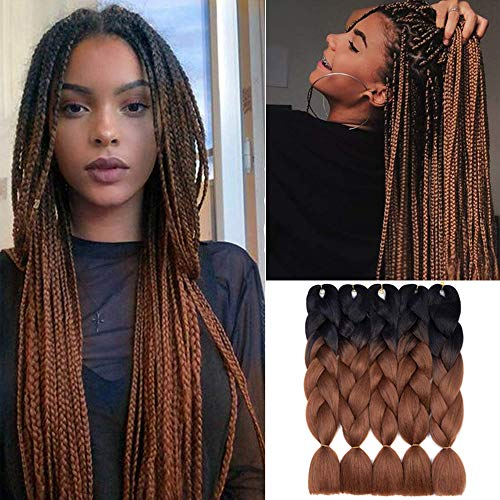 Ombre Braiding Hair Kanekalon Synthetic Braiding Hair Extensions 5pcs/lot 24inch Jumbo Braiding Hair (Black-Dark brown)