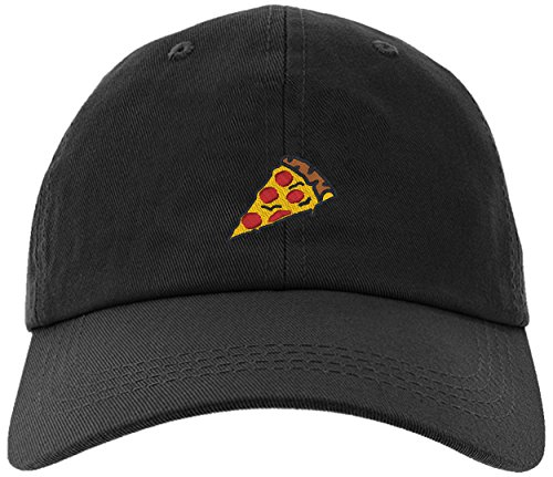 Cap Pizza Slice Pepperoni Embroidery Stitch Baseball Hat-Pizza-EM-0008-Black