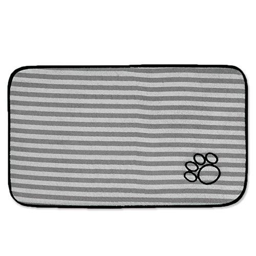 Bone Dry Machine Washable, Ultra Absorbent Pet Mat, Large, 14 x 24, Gray Stripe