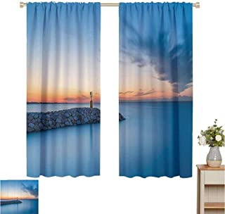 June Gissing Scenery House Decor Black Out Window Curtain Sun Early Day Lights on Breakwater Harbor Port Summer Marine Theme Décor Darkening Curtains W63 x L63 Blue Orange