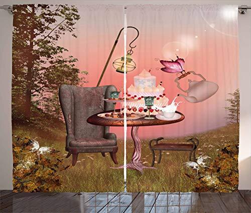 ABAKUHAUS Surrealista Cortinas, Dibujos Animados Bosque Mágico, Renovación Rápida Decorativa Set de...