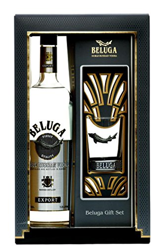 Beluga Export Noble Russian Vodka mit Geschenkverpackung mit 1 Rocking Glas (1 x 1 l)