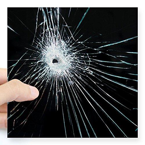 CafePress–rotto in vetro–quadrato adesivo 3–quadrato adesivo paraurti auto decalcomania, 7,6x 7,6cm (Small) o 12,7x 12,7cm (grande) Large - 5x5 Clear