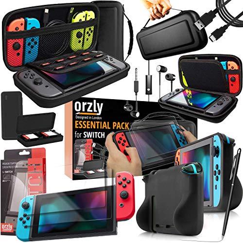 Orzly Switch Accesoires, Zubehör für Nintendo Switch (Panzerglas Schutzfolien, USB Ladekabel, Konsole Tragetasche, Spiele Patronenhülse, Comfort Grip Case, Kopfhörer)-SCHWARZ
