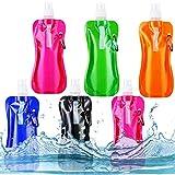 NALCY Botella de Agua Plegable, 6PCS Botella de Agua Plegable, Botella de Agua Potable Reutilizable de 480ml con...