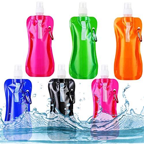 NALCY Botella de Agua Plegable, 6PCS Botella de Agua Plegable, Botella de Agua Potable Reutilizable de 480ml con Mosquetón de Aluminio para Senderismo, Ciclismo, Camping