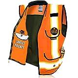 KwikSafety (Charlotte, NC) GODFATHER (Cushioned Collar) Class 2 ANSI OSHA High Visibility Safety Vest 9 Pockets Reflective Tape Heavy Duty Zipper Mesh Hi Vis Construction Men Women Orange X-Large