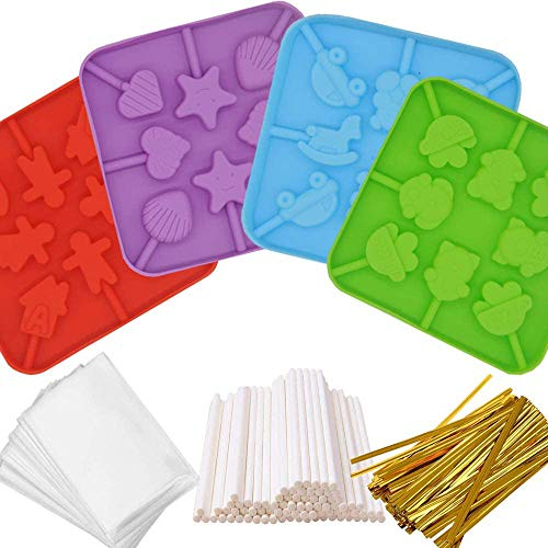IHUIXINHE Silicone Lollipop Molds,4Pack 8-Capacity Chocolate Hard Candy Mold with 80pcs 4 inch Lollipop sucker sticks,50pcs Candy Treat Bags,250pcs gold ties