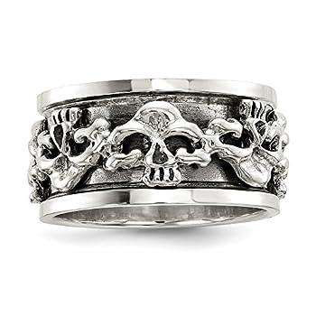 Solid 925 Sterling Silver Men s Spinning Center Vintage Antiqued Skull Ring Band Size 11.5